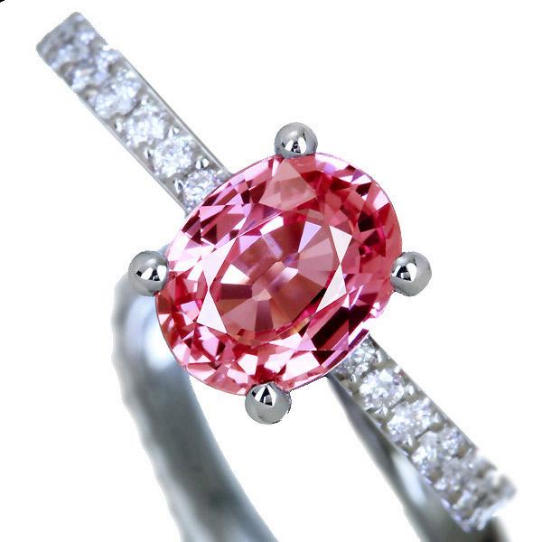 【HANDMADE】PT950 1.6ct パパラチャサファイア リング 0.37ct ダイヤモンド
