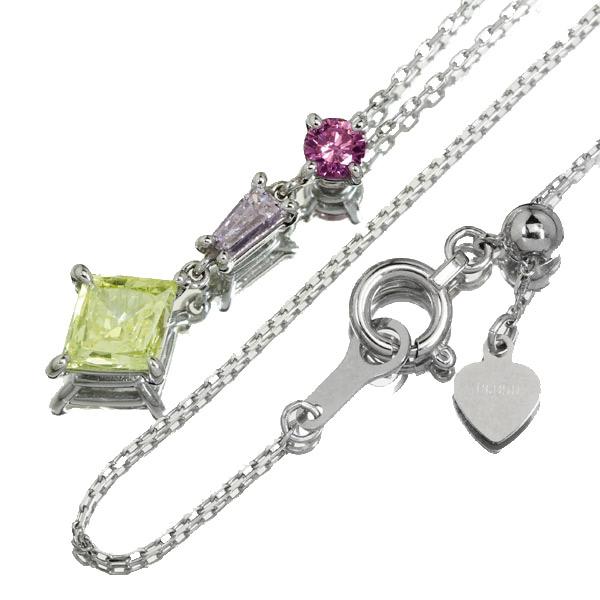【HANDMADE】PT950 Total0.613ct カラーダイヤモンドネックレス