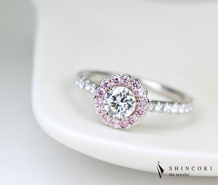 【HANDMADE】PT950 ピンクダイヤ ダイヤモンド リング 0.51ct D VVS2 3EXCELLENT 0.185ct デコレート