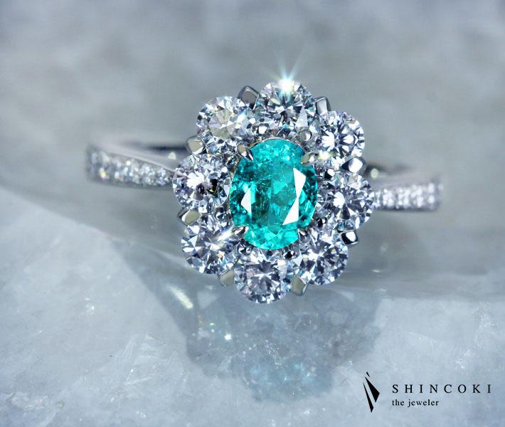 【HANDMADE】ブラジル産パライバトルマリンリング 0.496ct ダイヤモンド 1.101ct PT950