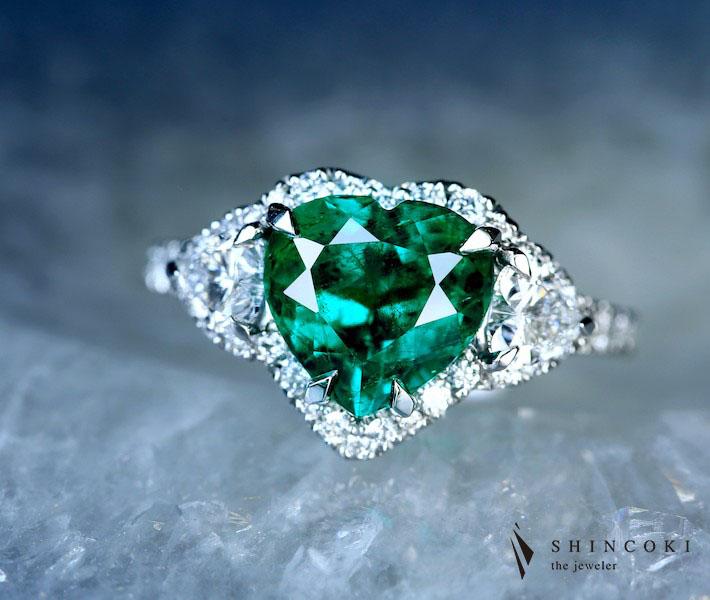 【HANDMADE】コロンビア産 VIVID GREEN Insignificant エメラルド 2.55ct リング ダイヤモンド 1.017ct PT900※GRS鑑別書付