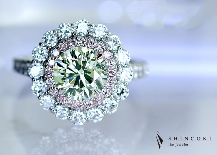 【 HANDMADE】PT950 グリーンダイヤモンド LIGHT YELLOW GREEN 1.93ct リング ピンクダイヤモンドデコレート ダイヤモンド 1.531ct ※GIA鑑定書・中央宝石研究所ソーティングシート付
