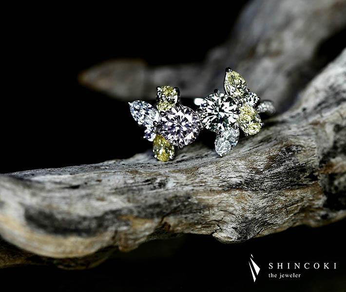 【HANDMADE】PT950 グリーンダイヤモンド 0.641ct LIGHT GREEN VVS-2/ピンクダイヤモンド 0.828ct FAINT PINK VS-2/ダイヤモンド リング※中央宝石研究所ソーティングシート付
