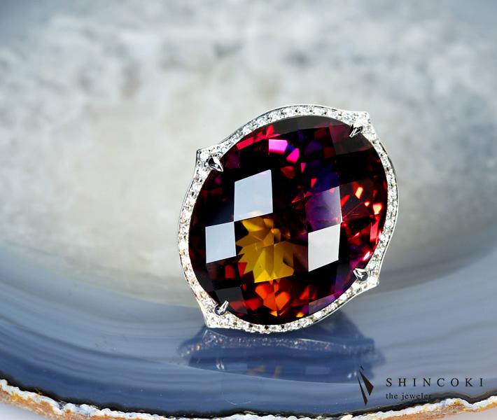 【HANDMADE】アメトリン 41.005ct リング ダイヤモンド 1.351ct PT950