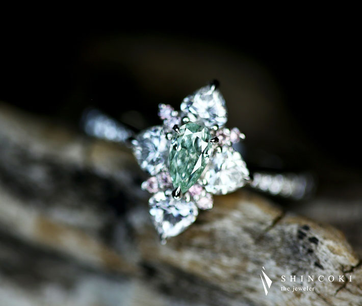 【HANDMADE】ナチュラル グリーンダイヤモンドグリーンダイヤモンド FANCY GREEN SI2 リング ピンクダイヤモンド ダイヤモンド PT950
