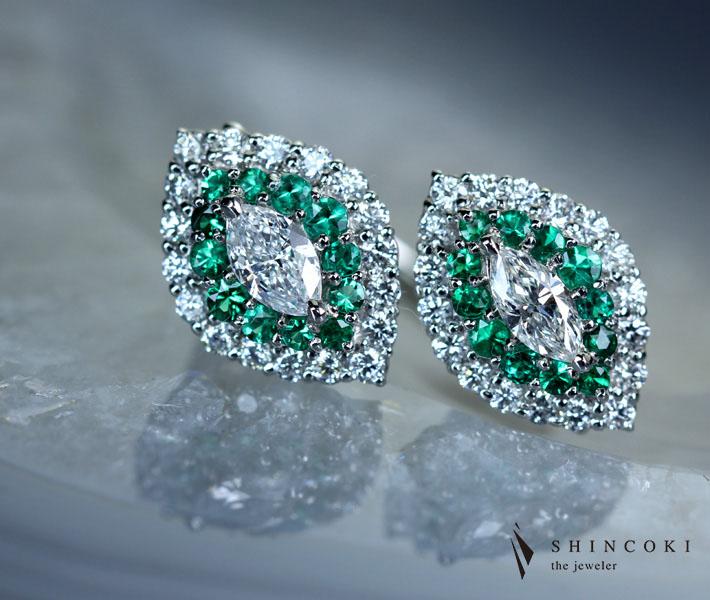 【HANDMADE】ダイヤモンドコロンビア産エメラルド リング ダイヤモンド PT950 ダイヤ マーキス