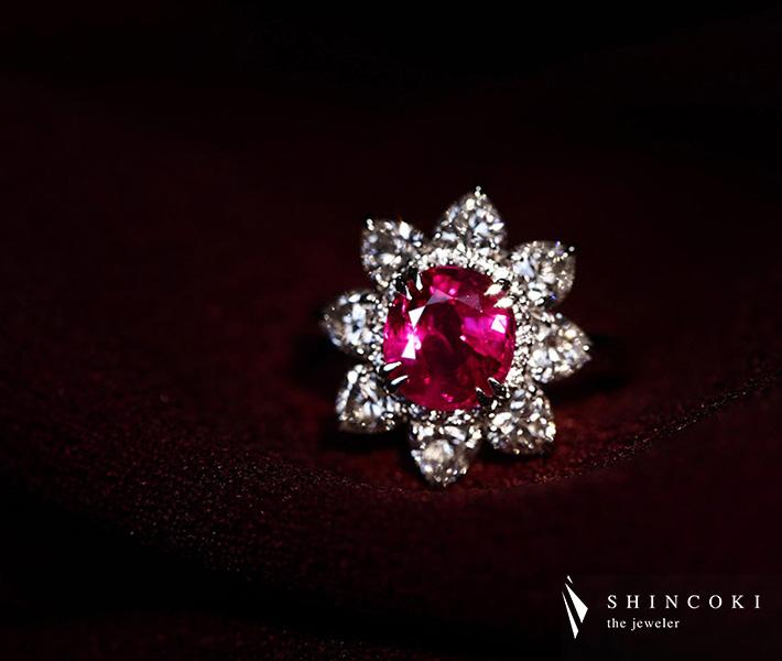 【 HANDMADE】Pt950 ビルマ産非加熱ルビー 2.40ct リング ダイヤモンド 2.043ct