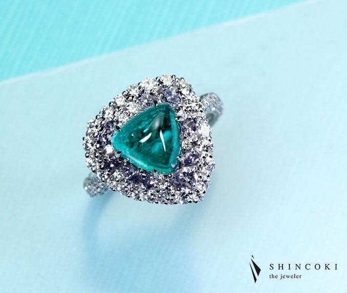 【HANDMADE】PT950 パライバトルマリン 3.09ct リング ダイヤモンド 1.845ct