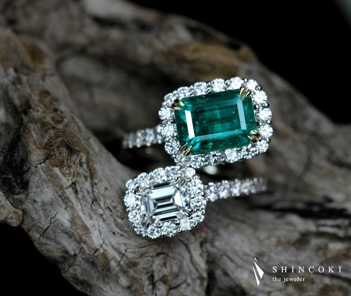 【HANDMADE】Pt950/K18 コロンビア産エメラルド 3.66ct VIVID GREEN ダイヤモンド 1.06ct D VVS1 リング