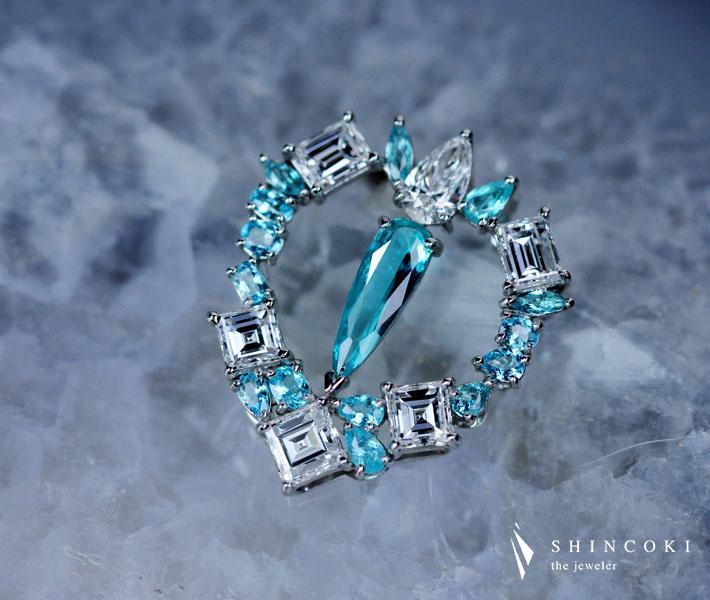 【HANDMADE】ブラジル産パライバトルマリン ネックレス 0.343ct/0.457ct ダイヤモンド 1.337ct PT950 ※中央宝石研究所ソーティングシート付