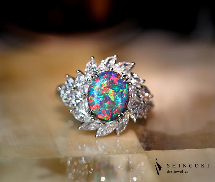 PT900 2.827ctブラックオパール リング 2.175ct ダイヤモンド