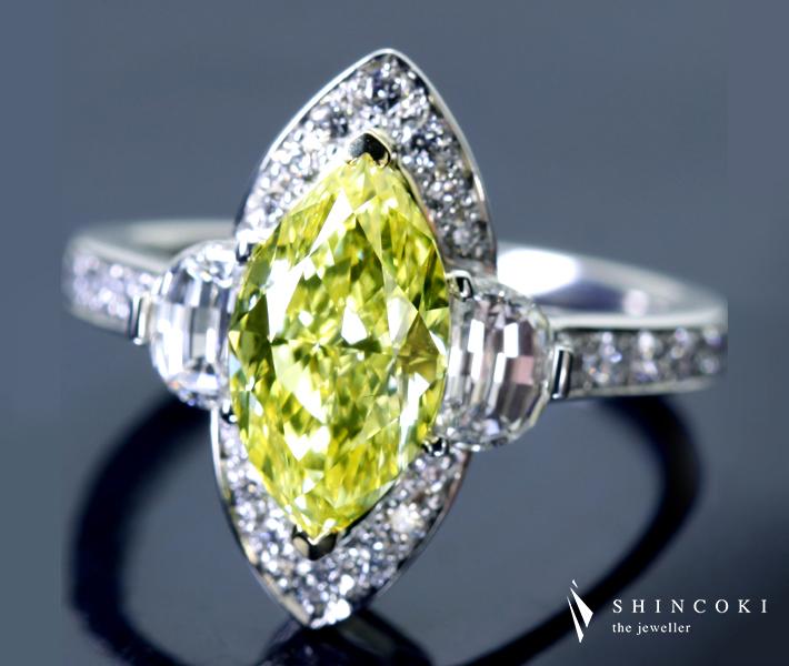 【HANDMADE】PT950/K18 1.913ct FANCY INTENSE YELLOW SI-1最高品質イエローダイヤモンドリング※中央宝石研究所ソーティングシート付き