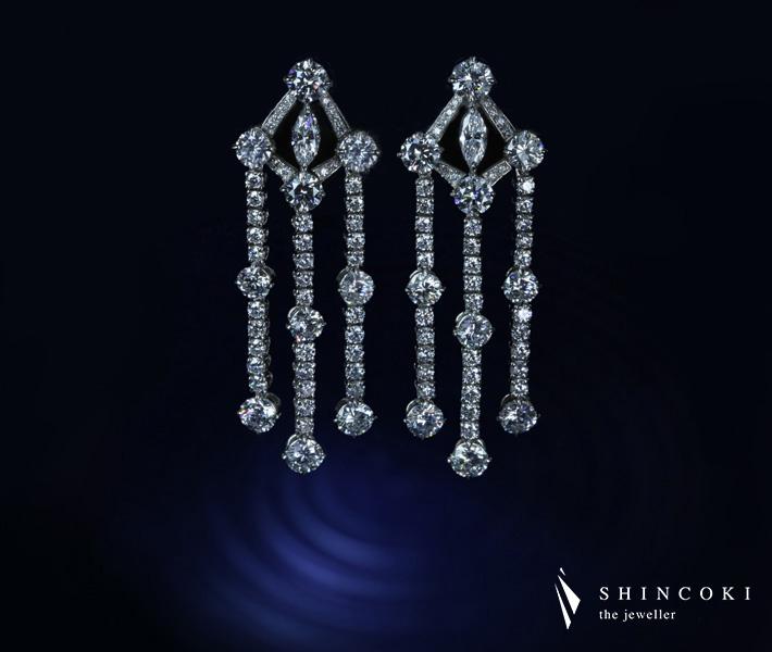 【HANDMADE】PT950 ダイヤモンド ピアス 3.676ct/3.677ct D/E VVS-VS1 H&C ※中央宝石研究所ソーティングシート付