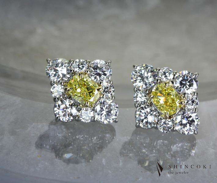 【HANDMADE】イエローダイヤモンド/ダイヤモンド ピアス FANCY INTENSE YELLOW VS1/VVS2 0.302ct/0.305ct Pt950/K18 ※中央宝石研究所ソーティングシート付