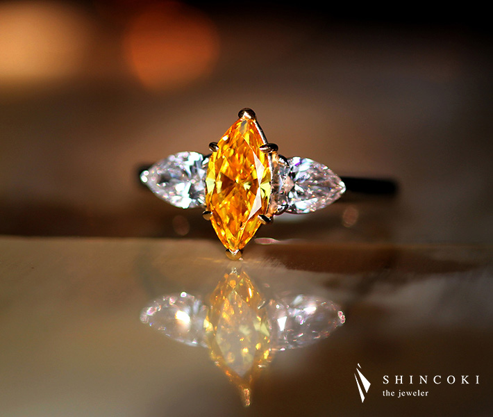 【HANDMADE】PT950/K18PG 0.87ct FANCY VIVID YELLOW ORANGE SI1 ダイヤモンド リング 0.606ct ダイヤモンド ※GIA鑑定書付