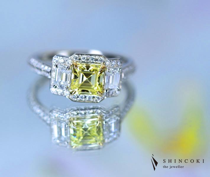 【HANDMADE】PT950 イエローダイヤモンド リング 1.05ct FANCY YELLOW VS2 0.791ct ダイヤモンド ※GIA鑑定書付