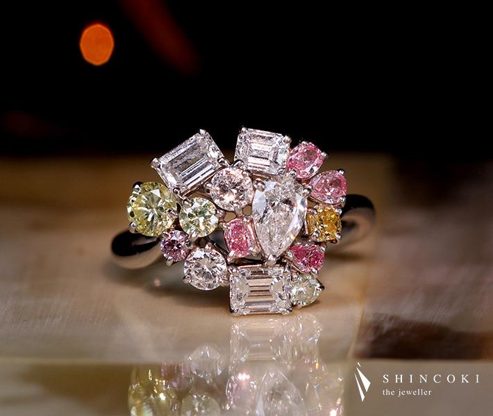 【HANDMADE】PT950 カラーダイヤモンド リング ファンシーカラー total1.467ct ダイヤモンド/total 0.829ct ※中央宝石研究所・AGT ソーティングシート付