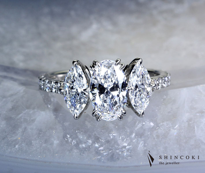 【HANDMADE】ダイヤモンドリング 1.12ct D VVS1/0.40ct E VS2/0.43ct D VVS1 ※GIA鑑定書付