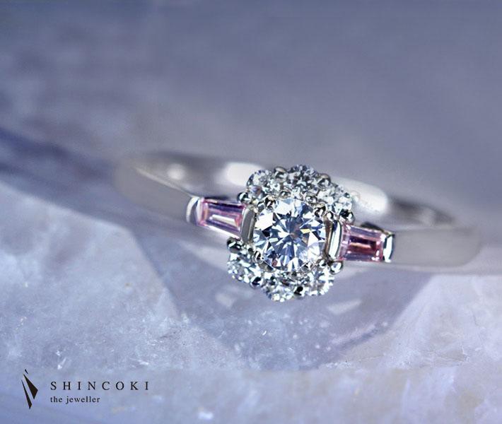 【HANDMADE】ブルーダイヤモンド 0.190ct LIGHT BLUE VS1 リング/ダイヤモンド 0.11ct PT950※ソーティングシート付