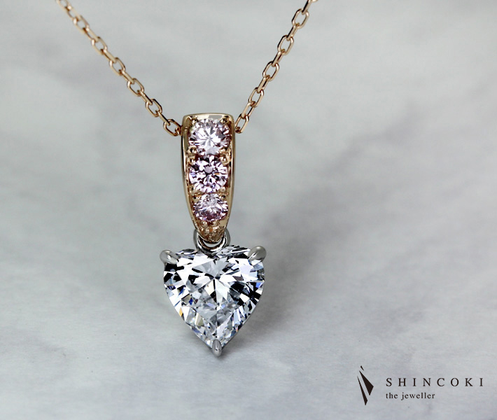 【HANDMADE】ダイヤモンド/ピンクダイヤモンド ネックレス D SI2