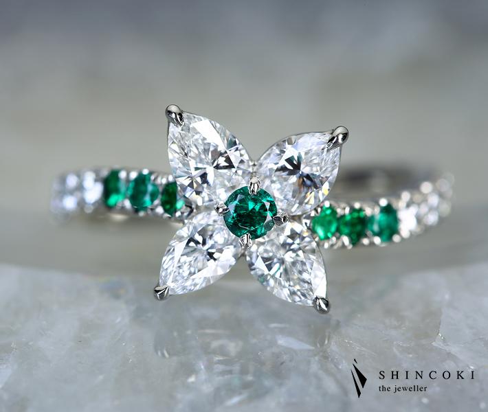 【HANDMADE】エメラルド 0.203ct ダイヤモンド 0.267ct D VS-1/0.264ct F VS-2/0.211ct E VS-1/0.202ct D VS-2 PT950