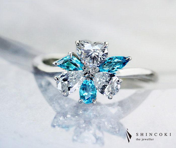 【HANDMADE】パライバトルマリン リング 0.33ct/ダイヤモンド 0.306ct E VS-2 ハートシェイプ/0.202ct E VS-2/0.172ct F SI-1 PT950 ※中央宝石研究所ソーティングシート付