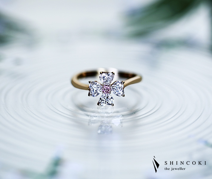 【HANDMADE】アーガイルピンクダイヤモンド 0.058ctFANCY INTENSE PINK/ダイヤモンド リング K18PG ※中央宝石研究所ソーティングシート付