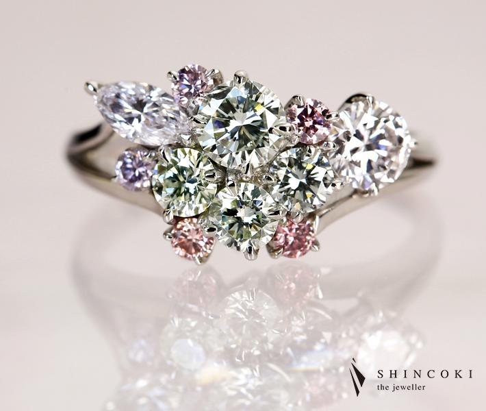 【HANDMADE】ピンクダイヤモンドFANCY INTENSE PINK/FANCY PINK リング グリーンダイヤモンド VERY LIGHT YELLOWISH GREEN ※中央宝石研究所ソーティングシート付