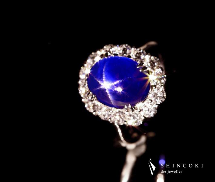 PT950 ビルマ産スターサファイア 7.72ct リング ダイヤモンド 1.316ct※GIA鑑別書付