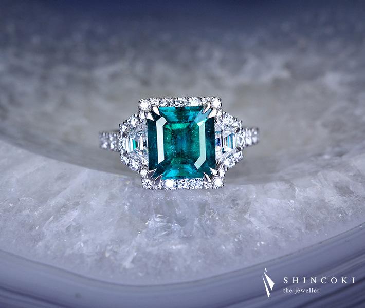 【HANDMADE】PT950 エメラルド 2.928ct ダイヤモンド 1.524ct※GRS鑑別書付【送料無料】