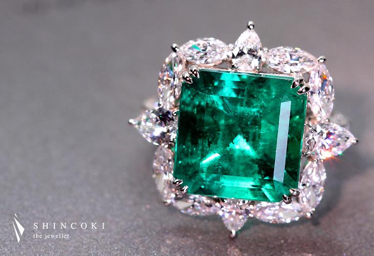 【HANDMADE】PT900 7.543ctコロンビア産エメラルドリング Total0.419ctダイヤモンド