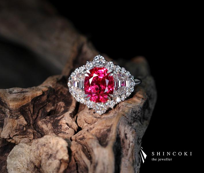 PT950 ビルマ産非加熱ルビーリング 4ct ダイヤモンド