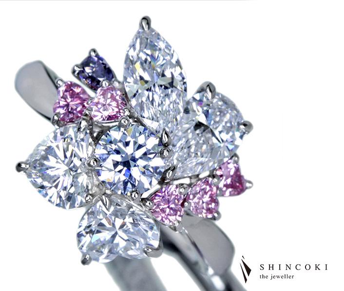 【HANDMADE】0.401ctFANCY BLUE TYPE2B・約0.5ct D IF/VVS TYPE2・FANCY INTENSE PINK ダイヤモンドリング※AGT・中央宝石研究所ソーティングシート付き