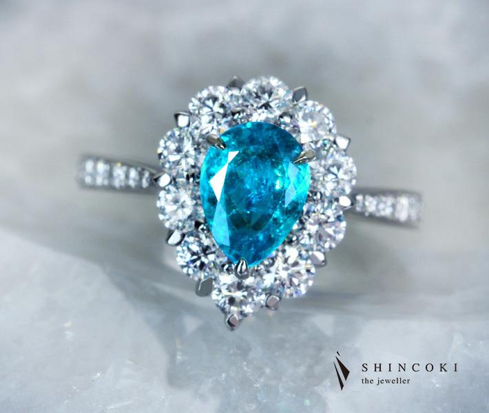 【HANDMADE】PT950 ブラジル産パライバトルマリン リング 1.158ct ダイヤモンド 1.028ct
