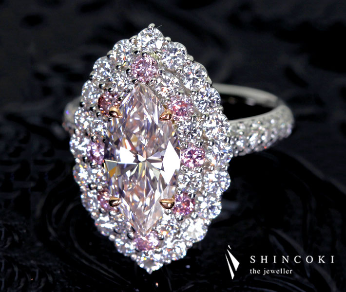 【HANDMADE】PT950/K18PG 1.800ct VERY LIGHT ORANGY PINK VS-1 TYPE2 ピンクダイヤモンドリング※中央宝石研究所ソーティングシート付き