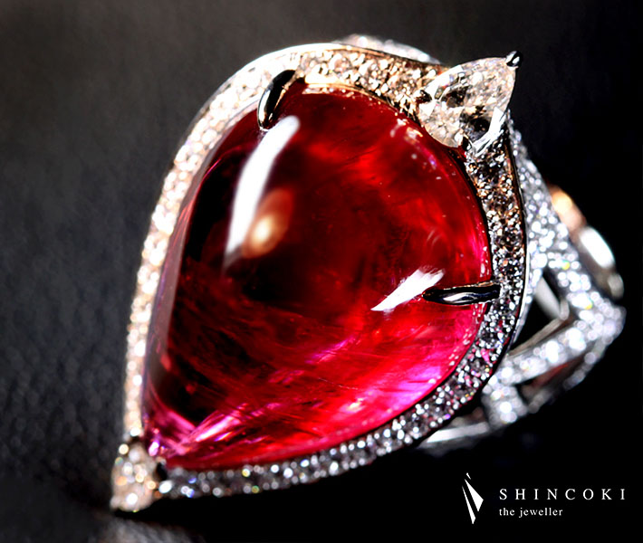 【HANDMADE】PT950 28.24ct 最高品質 ルベライト リング 0.102ct D VS2/0.241 G SI1 Total2.43ct H&Aダイヤモンド※中央宝石研究所ソーティングシート付き