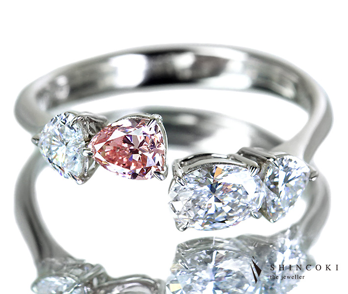 【HANDMADE】PT950 0.300ct FANCY PINK SI2/0.376ct D IF/Total1.059ctピンクダイヤ&カラーレスダイヤモンドリング※中央宝石研究所ソーティングシート付