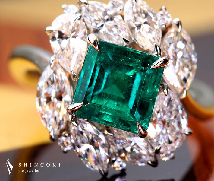 【HANDMADE】PT950 1.8ct コロンビア産エメラルドリング Total1.807ctダイヤモンド