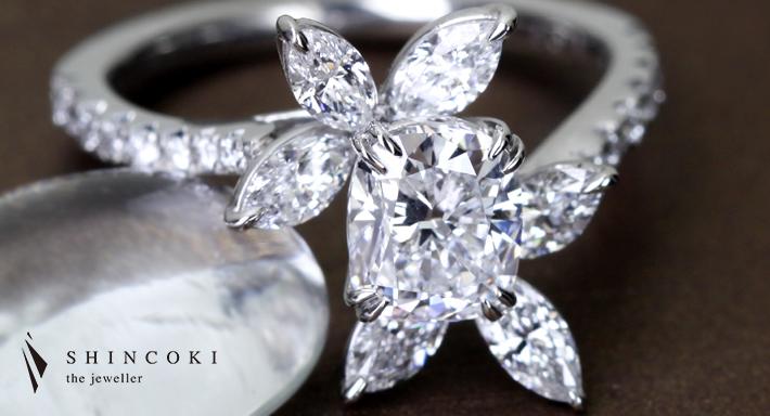 【HANDMADE】PT950 1.01ct D VVS1 クッションカット ダイヤモンド リング マーキス・ペアコレクション ※GIA DIAMOND GRADING REPORT