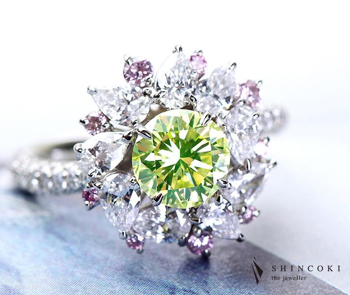 【HANDMADE】PT950 1.235ct FANCY INTENSE YELLOW GREEN VS1 インテンスグリーン ダイヤモンド リング