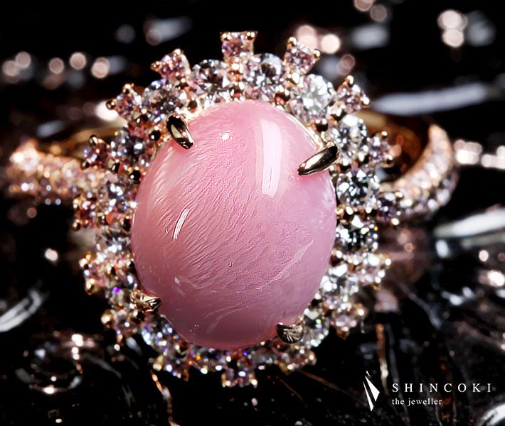 【HANDMADE】K18PG 5.734ct コンクパール リング 0.57ct ダイヤモンド 0.428ct ピンクダイヤモンド