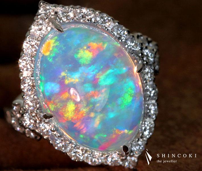 【HANDMADE】PT950 12.254ct ウォーターオパール リング 1.002ct ダイヤモンド