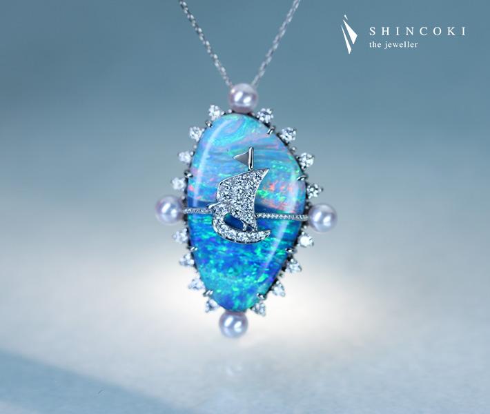 【HANDMADE】PT900/850 ボルダーオパール 11.155ct ダイヤモンド 0.381ctネックレス