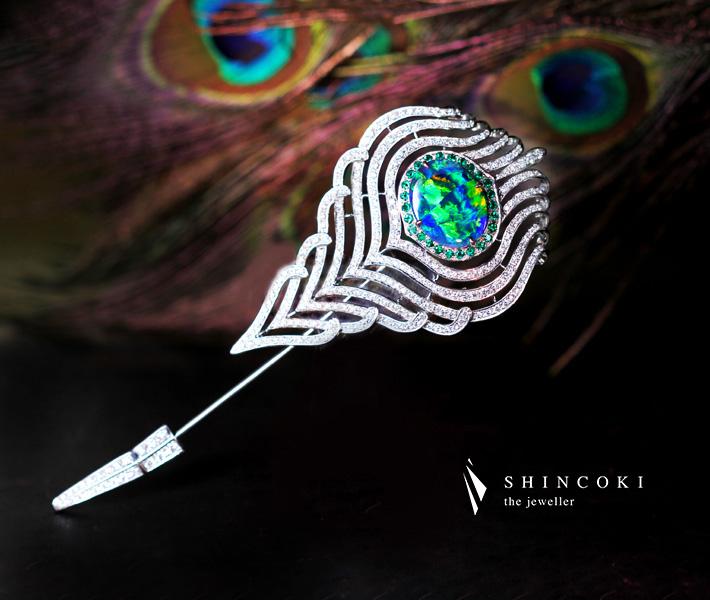 【HANDMADE】Pt950 ブラックオパール4.62ct ダイヤモンド2.223ct ブローチ