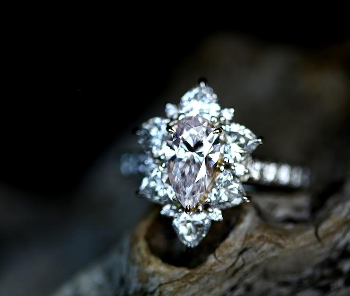 【HANDMADE】ピンクダイヤモンド 1.037ct FAINT PINK VVS-1 リング ハートシェイプダイヤモンド Total1.268ct PT950/K18※中央宝石研究所ソーティングシート付