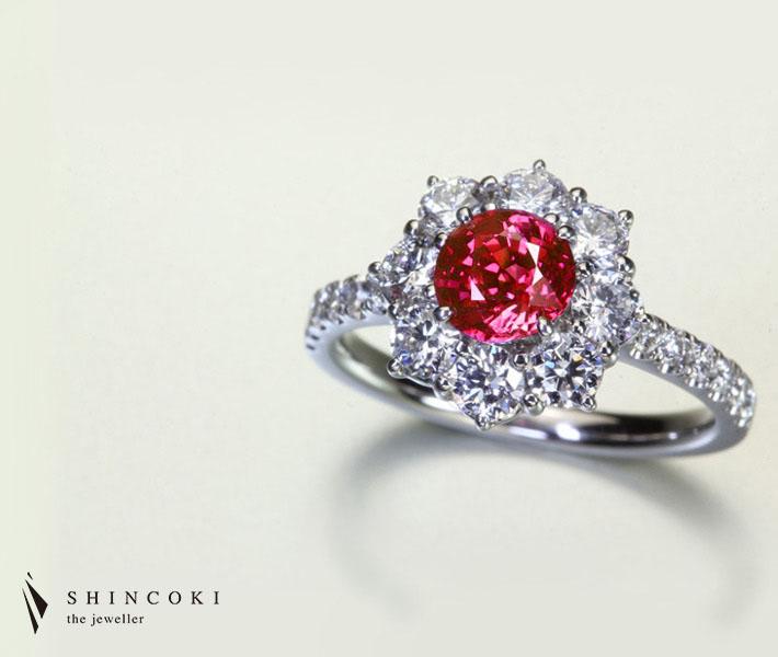 【HANDMADE】PT950 1.03ct ビルマ産非加熱ルビー リング 1.138ct ダイヤモンド