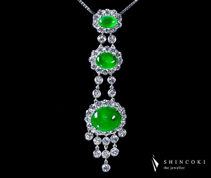 【HANDMADE】PT950 9.33ctロウカン本翡翠ネックレス ダイヤモンド4.84ct 最高品質?