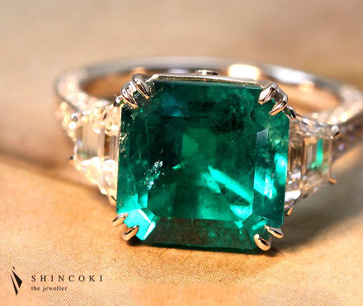 【HANDMADE】PT950 5.001ctコロンビア産 エメラルド リング 1.4ctダイヤモンド