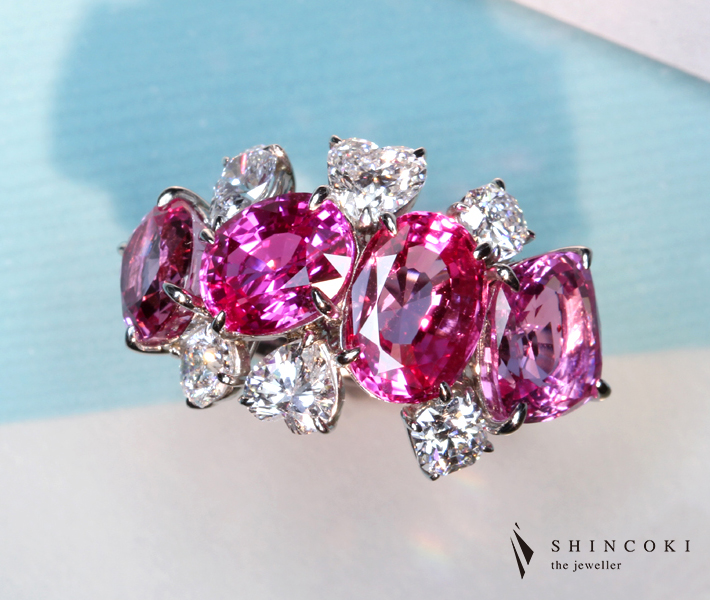 【HANDMADE】PT950 8.69ct ピンクサファイア リング 1.705ct ダイヤモンド