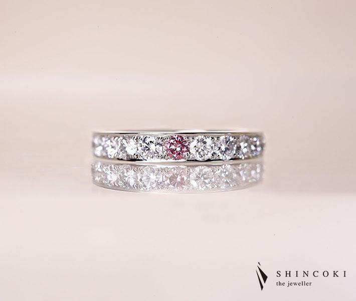【HANDMADE】PT950 ピンクダイヤモンド 0.082ct Fancy Intense Purplish Pink VS2 リング ダイヤモンド 0.902ct※中央宝石研究所ソーティング付